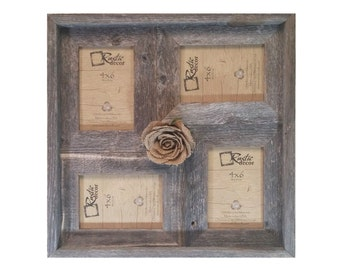 "4x6 -2"" wide Multi-Direction Rustic Barn Wood Collage Frame(Holds 4-4x6 Pictures)"