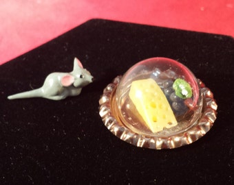 Dollhouse Miniature Mouse  With Cheese & Grapes on a Tray with Dome-kitchen-cheese tray-miniature