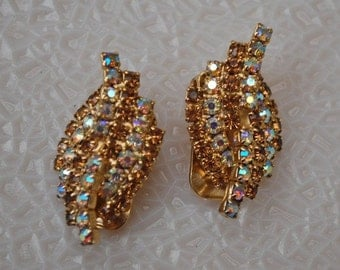 Vintage Earrings with Aurora Borealis Crystal Rhinestones, Hollywood Glamour, Wedding, Event, Occasion