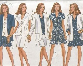UNCUT 6068 Butterick Sewing Pattern Petite Jacket Top Skirt Shorts Size 12 14 16 Factory Folded
