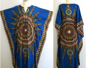 70s Dashiki Caftan/ Ethnic Maxi Dress/ Cotton Boho Festival Dress/ Women's Size Small to Medium