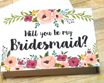 Will You Be My Bridesmaid Card - Bridesmaid Card - Be My Bridesmaid - Maid of Honor Wedding Card - Bridesmaid Thank You Card