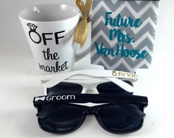 Off the market gift, engagement gift, summer outdoors, personalized sunglasses, summer engagement gift, summer wedding, bride to be gift