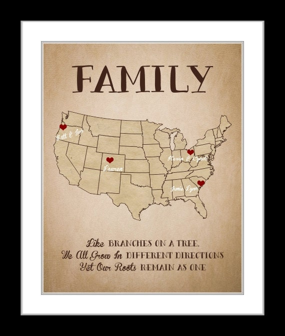 Family personalized gift christmas gifts family map gift like this item gumiabroncs Gallery