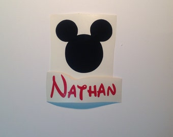 DIY Mickey Mouse and Name Disney Theme Vinyl Decal Make Your Own Toddler Water Bottles Loot Bag Gifts Lunchboxes