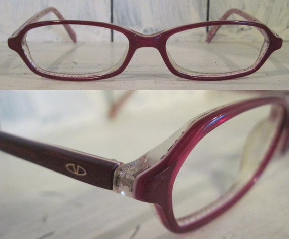 Glasses Frame Maker Italy : Vintage Valentino Made in Italy wine red color rectangular