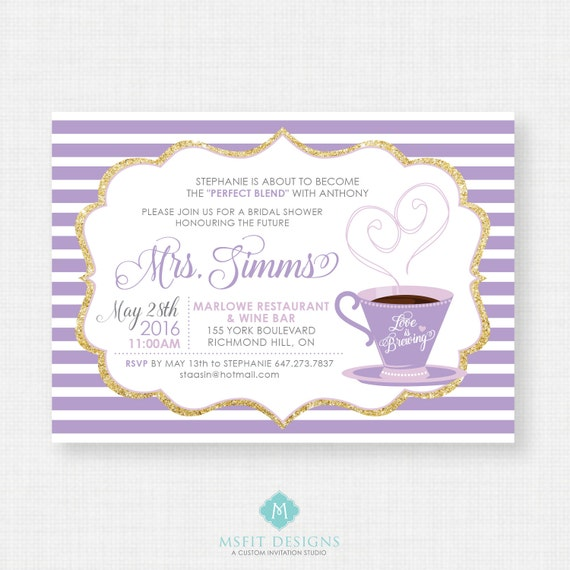 Love is Brewing Bridal Shower Invitation - Bridal Shower - Printable template