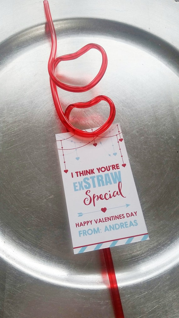 Valentine's Day Favors- Valentine Straws - Straw Favors - I think you are exstraw special template