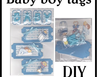 CLEARANCE SALE * Scrapbook Page Baby boy Scrapbook Paper Layout kit Scrapbooking  Embellishment 3d Baby tags ticket Scrapbook Paper Piecing