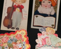 1920's Valentine Ephemera Greeting Cards, Post Cards, Antique Ephemera Valentine's Day, Colorful Post Greeting Cards 1920's