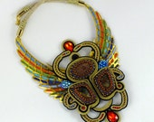 Soutache elegant jewelry statement large necklace EGYPTIAN SCARAB, soutache necklace, gold blue red black necklace, beadwork