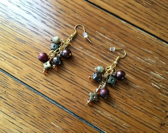 Earrings. Brown Earth tones on Gold Ear Wires. Hang 2 inches long.