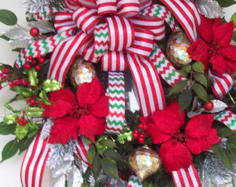 Christmas Wreath,  Evergreen Wreath, Holiday Wreath, Red Wreath, Front Door Wreath, XXXL Christmas Wreath