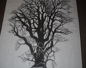 Wall Hanging - Tree - Retro - 70s - Scandinavian - Design - Brown & White - Decor - Vintage