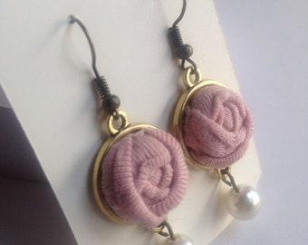 Fabric Flower Earrings, Rosette Earrings, Rosebud Earrings, Textile jewelry