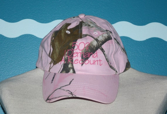 Birthday Baseball Hat - 50 year old birthday hat - Pink Camo baseball cap - 50 I demand a Recount - Embroidered baseball cap - custom gift
