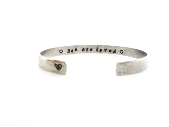 Secret Message Cuff Bracelet, You Are Loved, Hammered Texured, Customizable