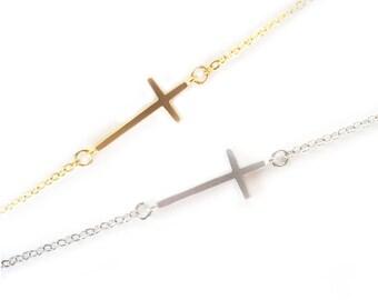 Sideways cross bracelet Dainty cross Tiny cross bracelet, cross jewelry Minimalist Christian bracelet Religious gift Symbol bracelet