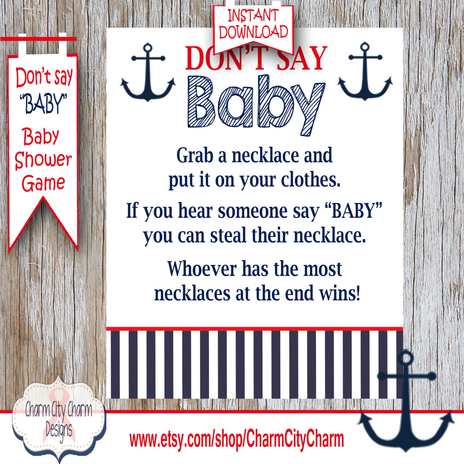 Don t Say Baby Baby Shower Game Baby Necklace Game