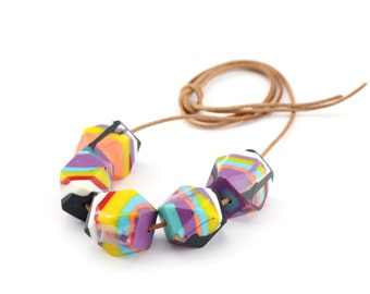 Bright Layered Geo Bead Resin Necklace. Large Chunky Faceted Statement Beads on Natural Leather Cord. Ready to Ship. Australian Made