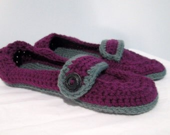 Women's Slippers, House Shoes, Purple and Grey Slippers