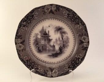 Antique Flow Black Mulberry Plate J. CLEMENTSON COREA -  1839-1864