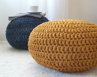Mustard Pouf-Crochet Round Pouf Ottoman-Floor Cushion-Footstool Pouf-Gold Nursery Decor-Kids Furniture-Bean Bag Chair-Knit Pouf-Floor Pillow