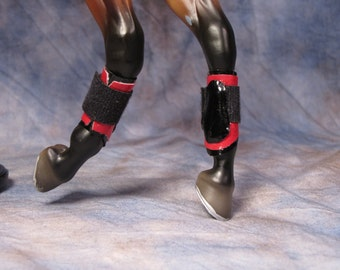 Model horse splint boots for traditional scale horses, red (old style)