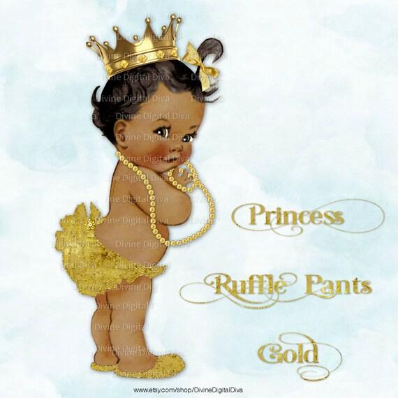 Princess Ruffle Pants Glittery Gold Vintage Baby Girl
