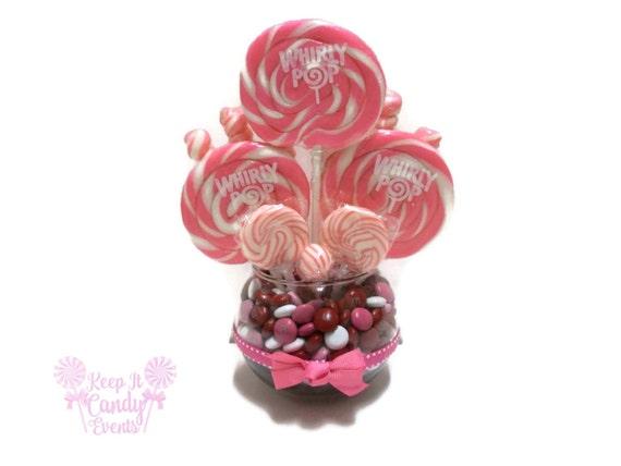 Small pink lollipop centerpiece wedding