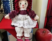 Raggedy Ann 15 Inch Doll Handmade Wearing Maroon Calico And Hair
