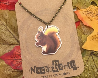 Squirrel Shrink Plastic Necklace