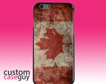 Hard Snap-On Case for Apple 5 5S SE 6 6S 7 Plus - CUSTOM Monogram - Any Colors - Canadian Flag Old Weathered
