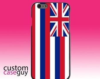 Hard Snap-On Case for Apple 5 5S SE 6 6S 7 Plus - CUSTOM Monogram - Any Colors - Hawaii State Flag