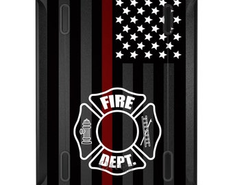 Custom OtterBox Defender for Apple iPad 2 3 4 / Air 1 2 / Mini 1 2 3 4 - CUSTOM Monogram - FD Thin Red Line