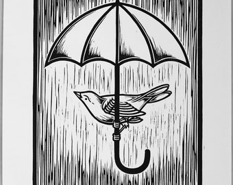 Gimme Shelter Part II - Linocut Print, Signed and Numbered Edition of 100
