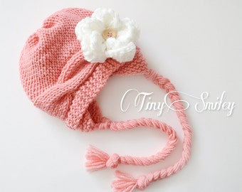 Cable Knit Baby Beanie, Coral Knit Cable Baby Hat, Peach Earflap Baby Hat, Newborn Knit Hat, Cute Baby Hat, Winter Baby Girl Hat, Girl Hats