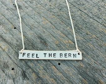 Sterling Silver 'Feel the Bern' Pendant - Bernie Sanders - Free Worldwide Shipping