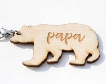 Papa Bear and Mama Bear Key Chains (Gift, mom, dad, natural)