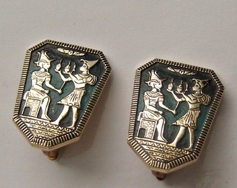 Egyptian Style Clip On Earrings.