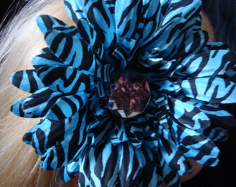 Light Blue Zebra Flower Gerber Daisy Headband