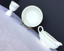 Blue and yellow, 3 pieces, gravy boat, bowl, egg cup, Crooksville, Syracuse, vintage