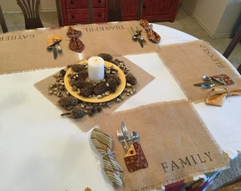 Thanksgiving placemat with matching napkin, burlap, stenciled