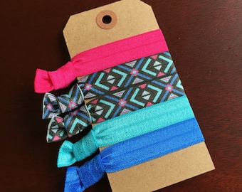 Tribal Blue and Pink Hair Tie Set of 5- Emi Jay Inspired-
