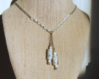 Double Pendant White and Silver Necklace