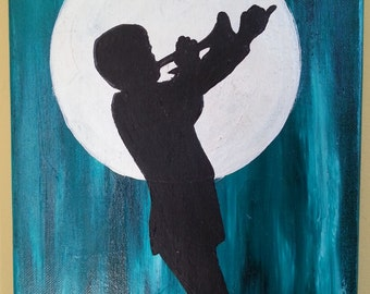 "9"" x 12"" Acrylic Painting ~ Boy Playing Trumpet under Moon on Canvas"
