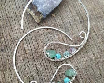 Paisley hoop earrings sterling silver wrapped gemstones