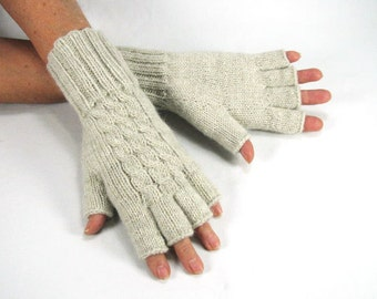Women's Lamb's Wool Blend, Natural Heather, Extra Long Half Fingered, Fingerless Gloves, Cabled, READY TO SHIP