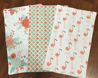 Girly Burp Cloths, Floral and Flamingo, Cotton and Terry Cloth lined, set of 3, baby gift