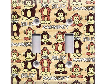 Silly Monkey Double Light Switch Cover
